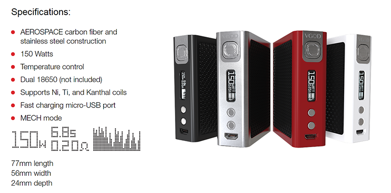 Specifications for VGOD PRO 150
