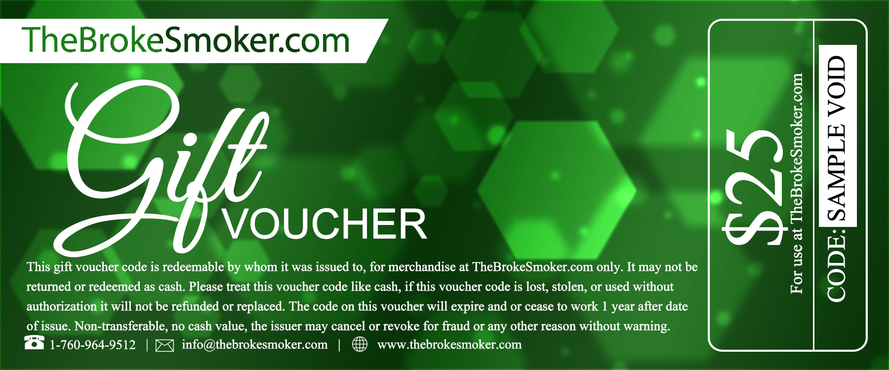 $25 Dollar Gift Voucher / Gift Certificate from TheBokeSmoker.com buy now from The Broke Smoker